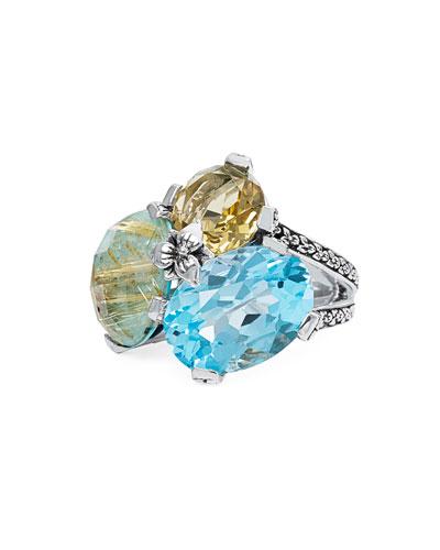 Rutilated Quartz, Turquoise, Topaz & Citrine Ring, Size 7