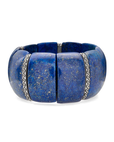 Lapis & Flower Stretch Bracelet
