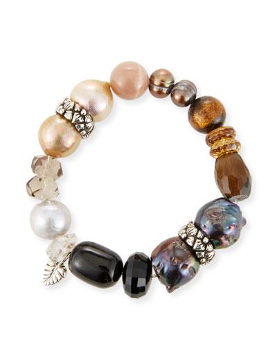 Stone & Pearl Stretch Bracelet