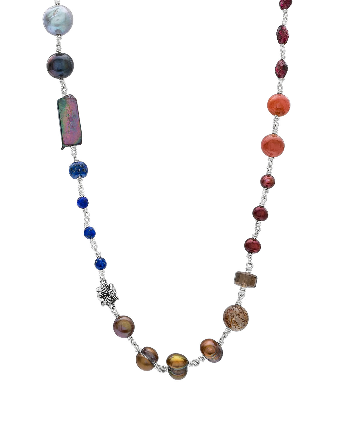 Multi-Stone & Mixed-Pearl Necklace