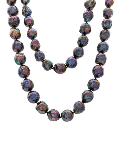 Dark Peacock Pearl Necklace