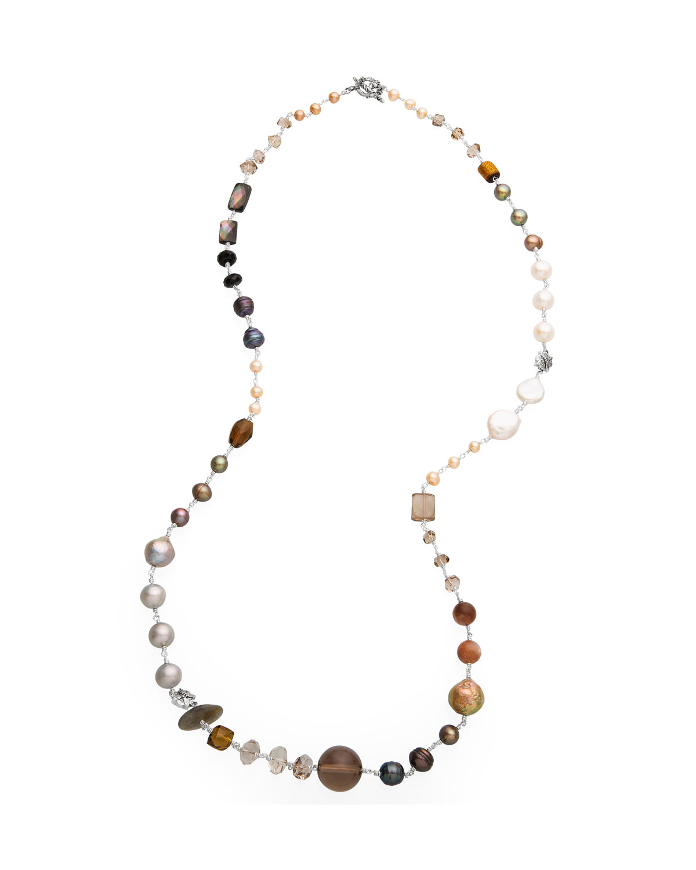 Multi-Stone & Peacock Pearl Necklace