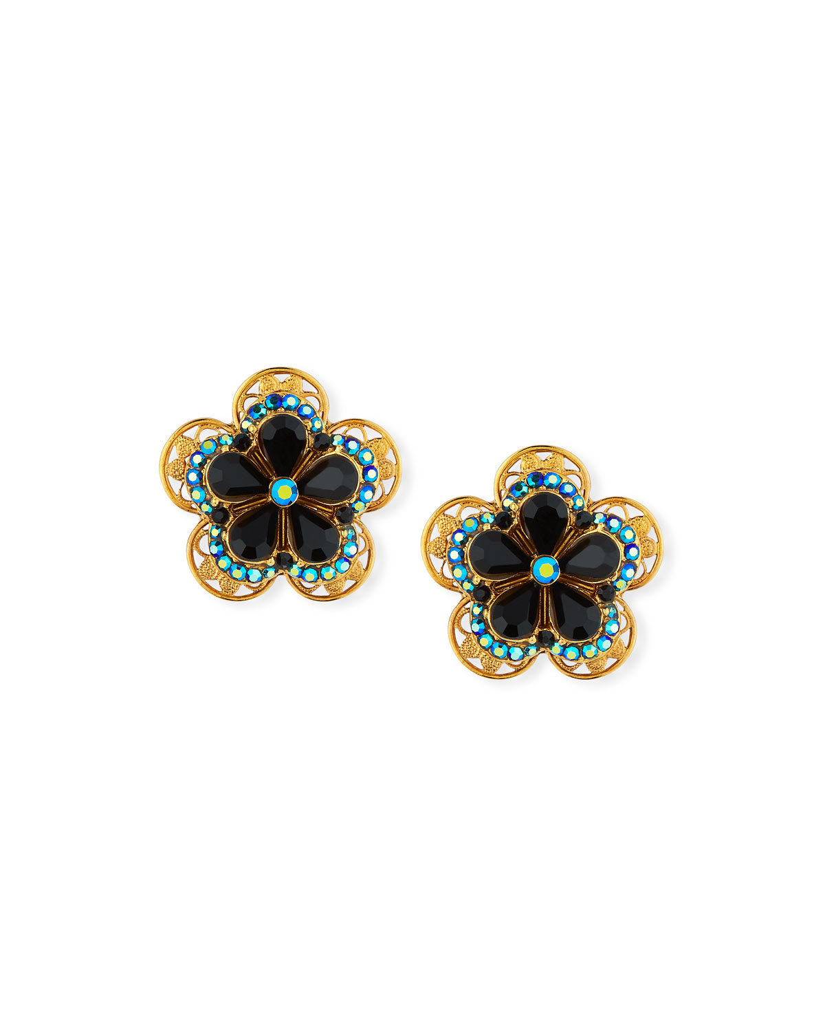 JOSE & MARIA BARRERA Crystal Flower Button Clip-On Earrings