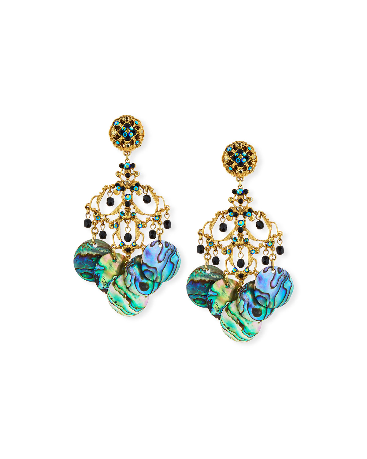 JOSE & MARIA BARRERA Abalone Disc Chandelier Clip-On Earrings