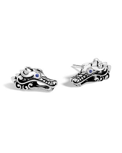 Legends Naga Silver Dragon Stud Earrings