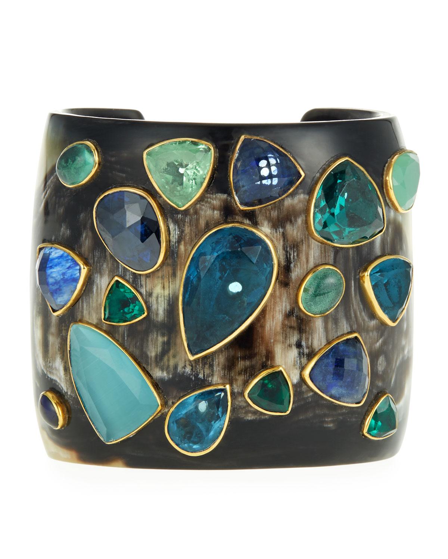 Scattered Stone & Dark Horn Cuff Bracelet