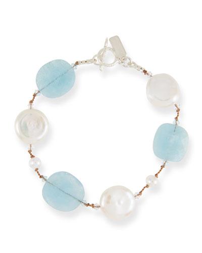 Crystal, Pearl & Aquamarine Bracelet