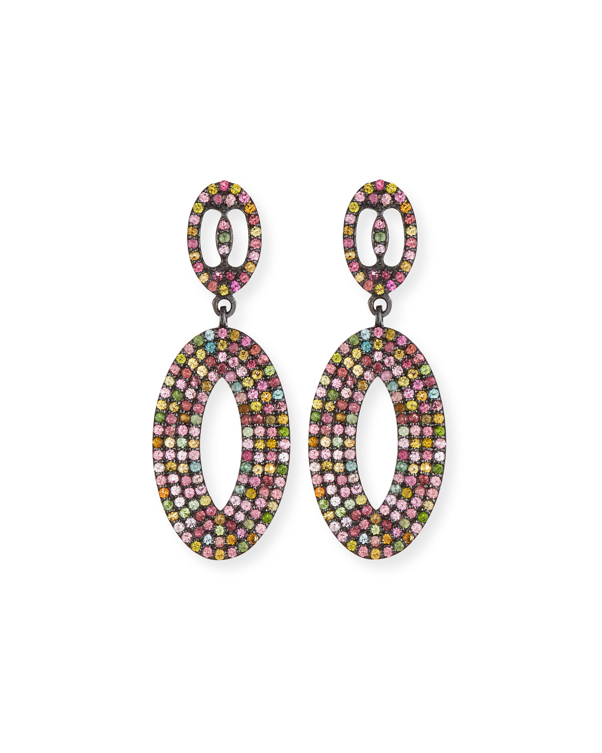 MARGO MORRISON Multicolor Tourmaline Loop Earrings in Multi Pattern