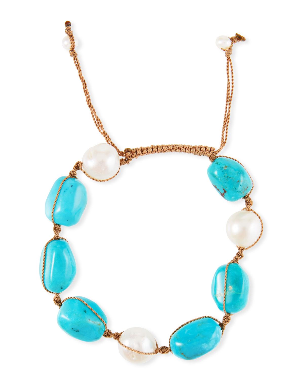 Adjustable Pearl & Turquoise Bracelet