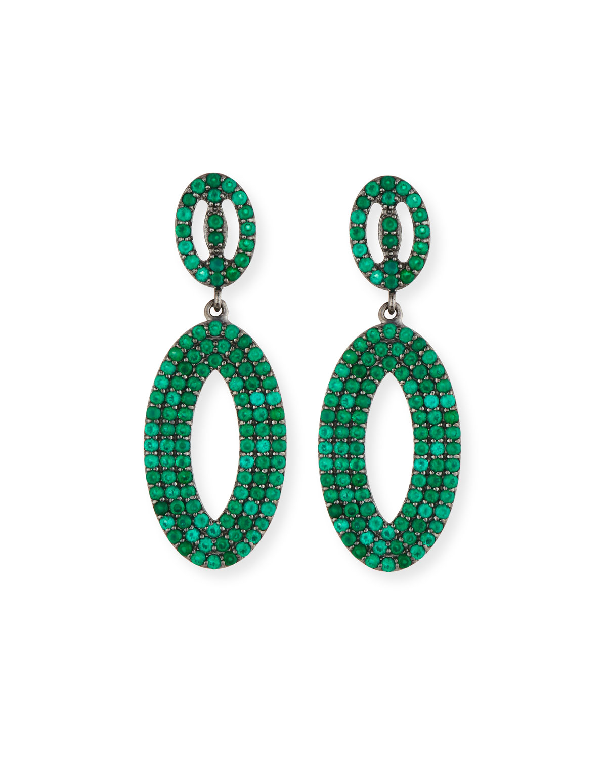 Green Onyx Loop Earrings