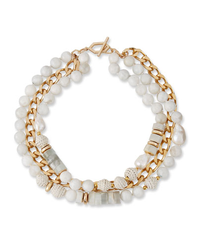 Pearl, Leather & Moonstone Triple-Strand Necklace