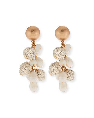 Pearl, Leather & Moonstone Earrings