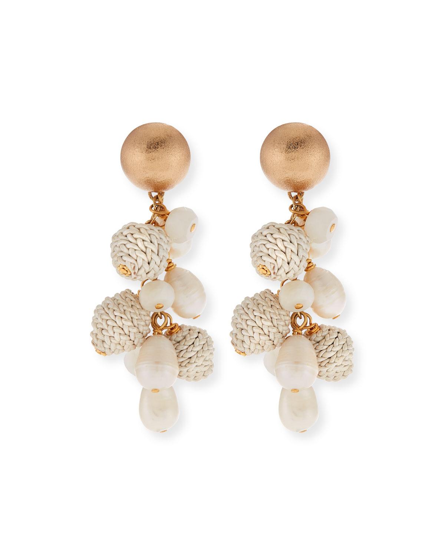 AKOLA Pearl, Leather & Moonstone Earrings in White