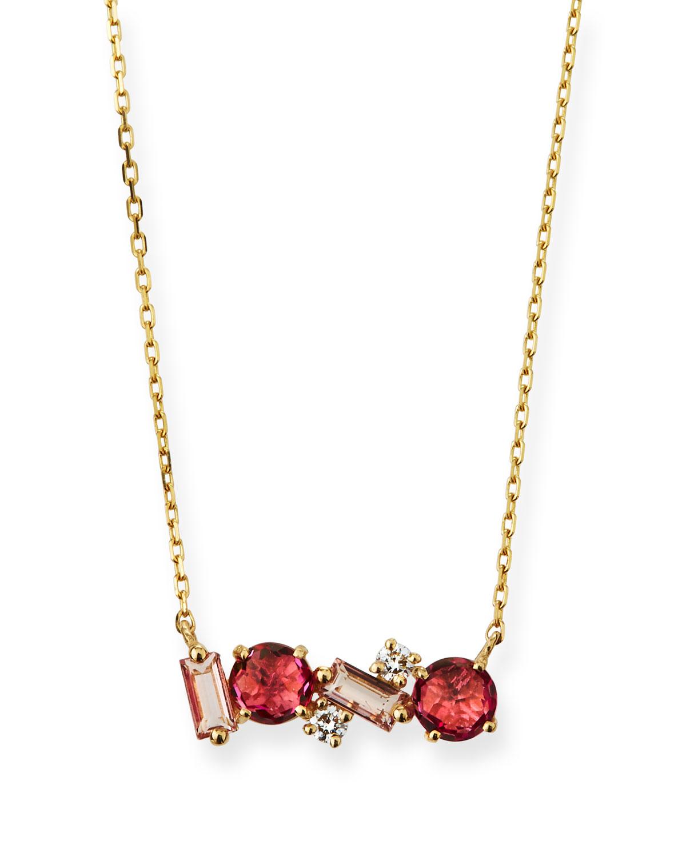 14k Gold Mini Pink & Morganite Topaz Fireworks Necklace