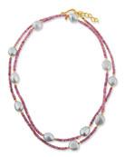 Dina Mackney Long Sapphire & Baroque Pearl Necklace