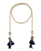 Akola Chain & Raffia Tassel Lariat Necklace