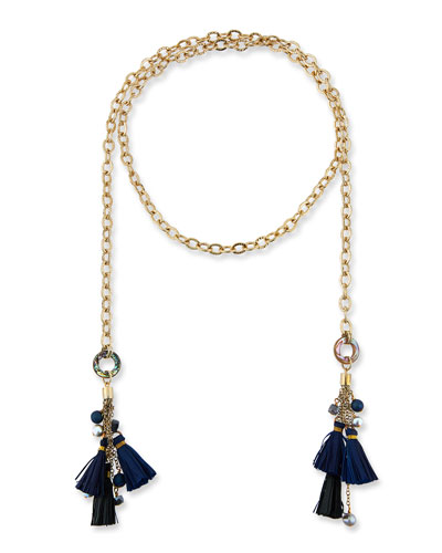 Chain & Raffia Tassel Lariat Necklace