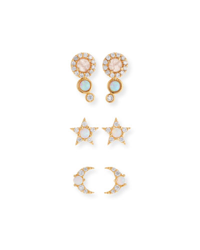 Opal Stud Earrings, Set of 3