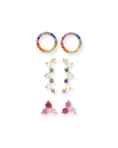 Rainbow Earrings, Set of 3