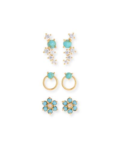 Turquoise Earrings, Set of 3