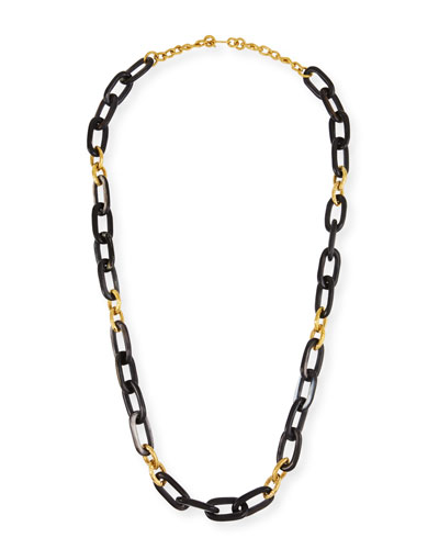 Dark Horn & Bronze Alternating Link Necklace, 38