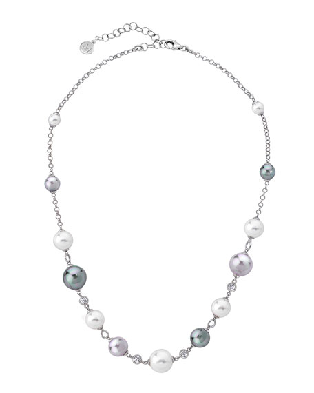 Majorica Multi-Pearl & Cubic Zirconia Necklace