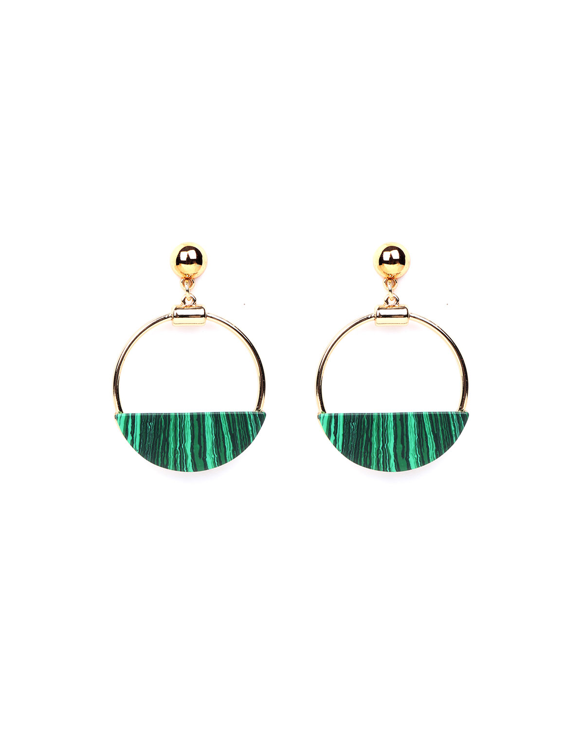 Malachite Hoop-Drop Earrings