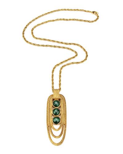 Triple-Malachite Pendant Necklace