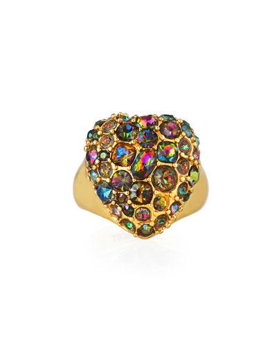 Nina Crystal Heart Ring, Size 7