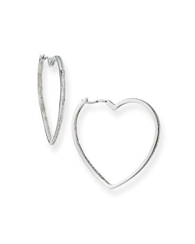 Pave Heart Hoop Earrings