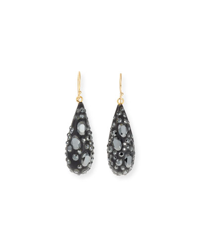 Crystal Encrusted Spiked Teardrop Earrings