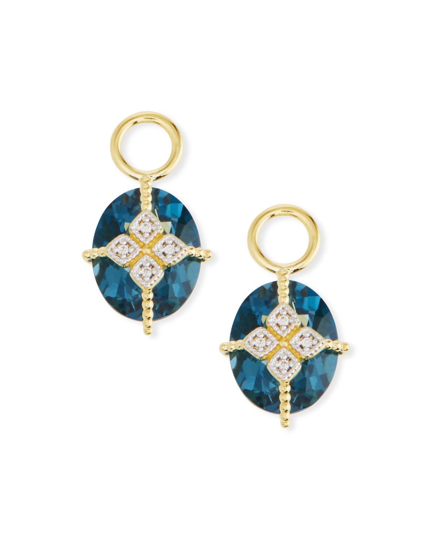 18k Gold Lisse Blue Topaz & Kite Earring Charms