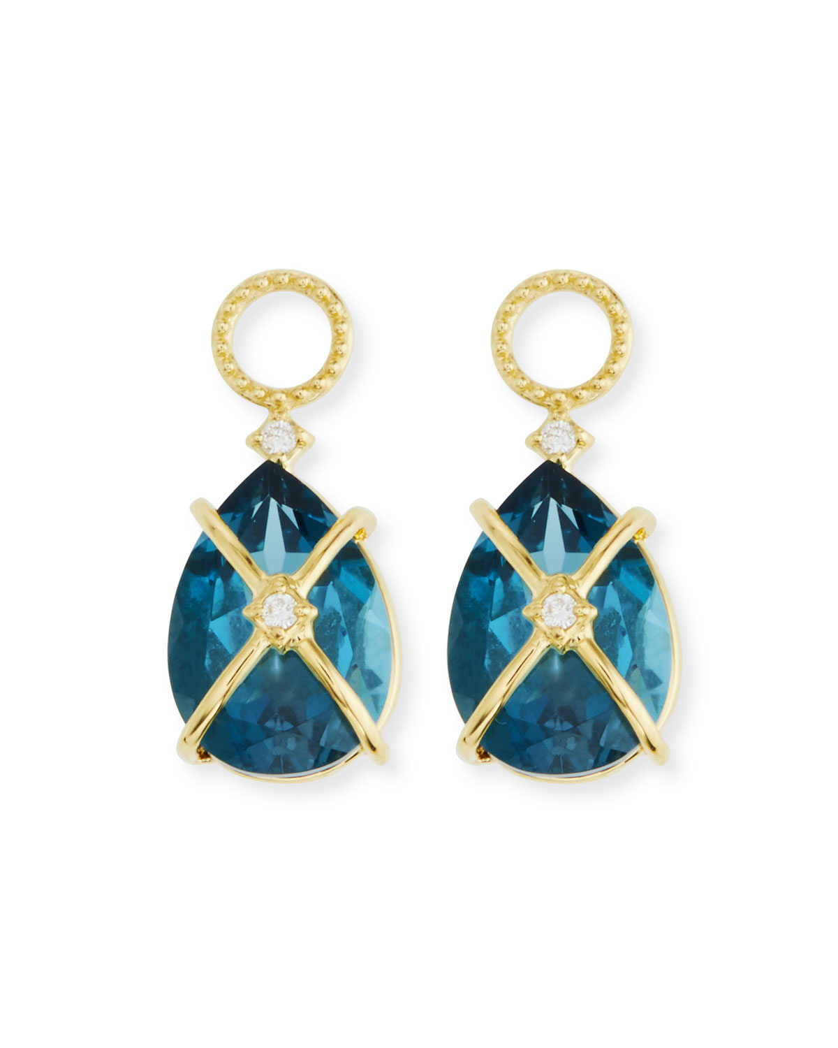 18k Lisse Tiny Criss Cross Pear Stone Earring Charms, Blue