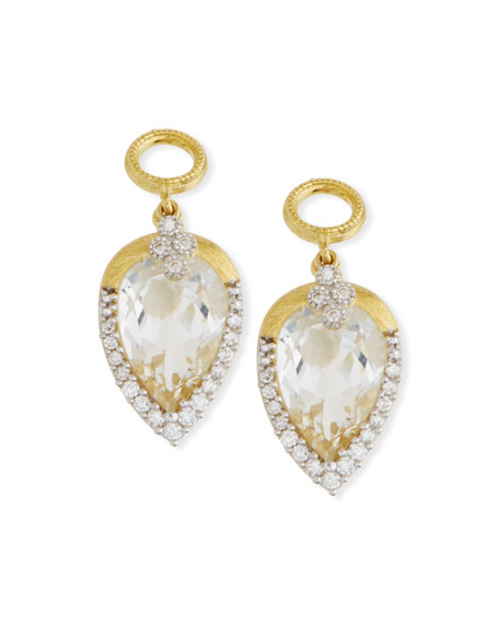 Jude Frances 18k Gold Provence Delicate Topaz Pear Earring Charms