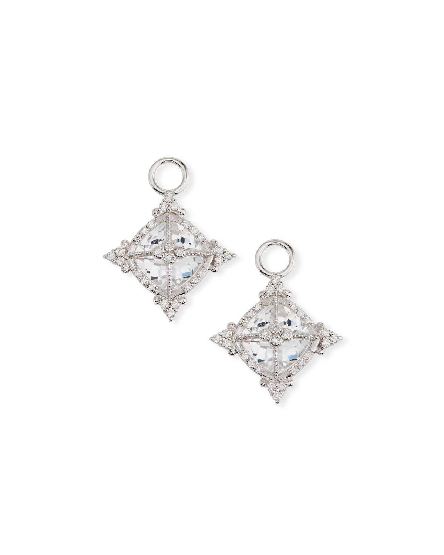 18k White Gold Provence Cushion Topaz Earring Charms