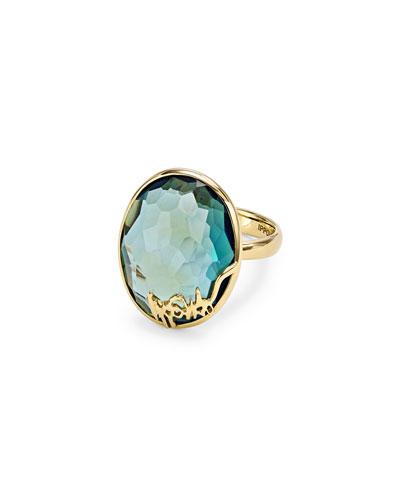 18k Gold Rock Candy Oval Stone Ring, Blue Topaz