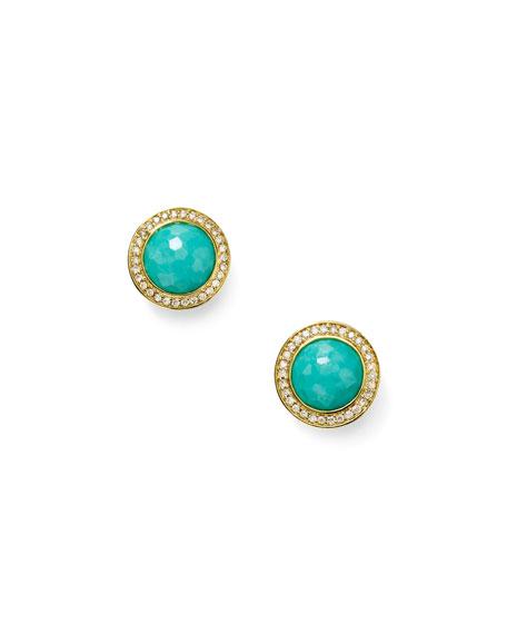 Ippolita Lollipop 18k Gold Turquoise & Diamond Earrings