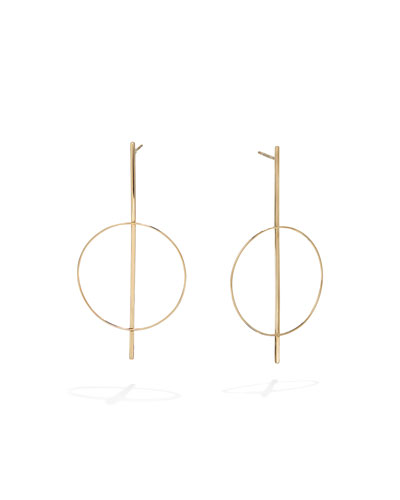 14k Gold Flat Bar Hoop Earrings