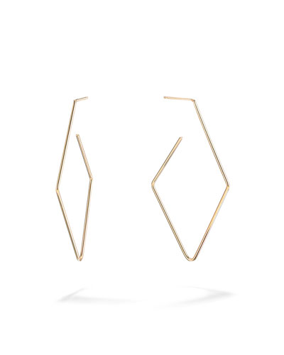 14k Gold Diamond-Shaped Hoop Earrings