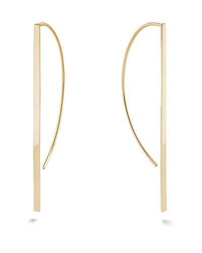 14k Gold Flat P-Hoop Earrings