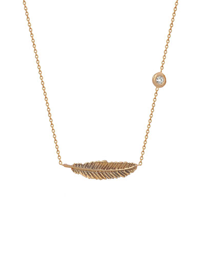 14k Rose Gold Diamond & Feather Necklace