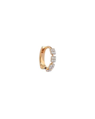 14k Rose Gold Square Diamond Hoop Earring (Single)