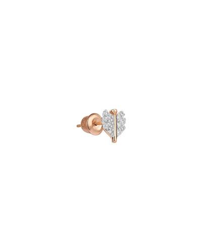14k Rose Gold Mini White Diamond Quill Earring (Single)