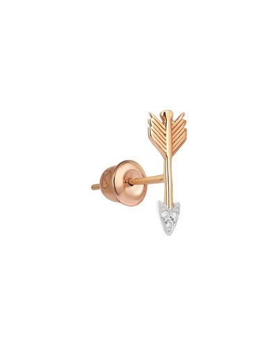 14k Rose Gold Diamond Sagittarius Earring (Single)