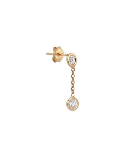 14k Rose Gold 2-Diamond Chain Earring (Single)