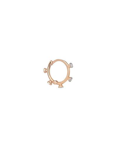 14k Rose Gold 5-Diamond Hoop Earring (Single)