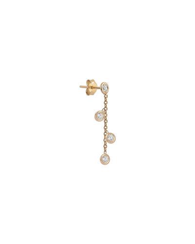 14k Rose Gold 4-Diamond Chain Earring (Single)