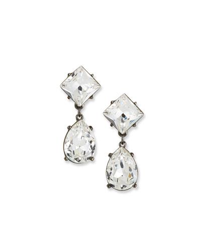 Crystal Square & Teardrop Earrings