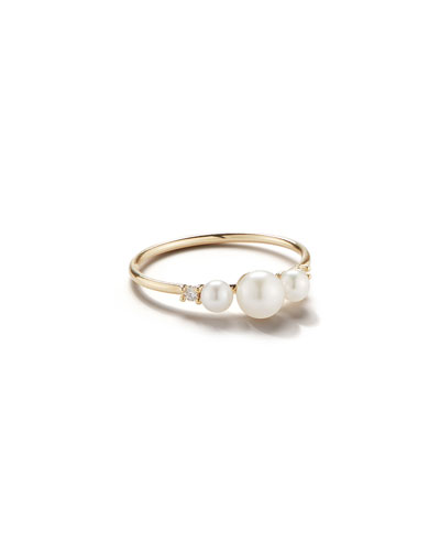 14k Gold 3-Pearl & Diamond Ring, Size 7