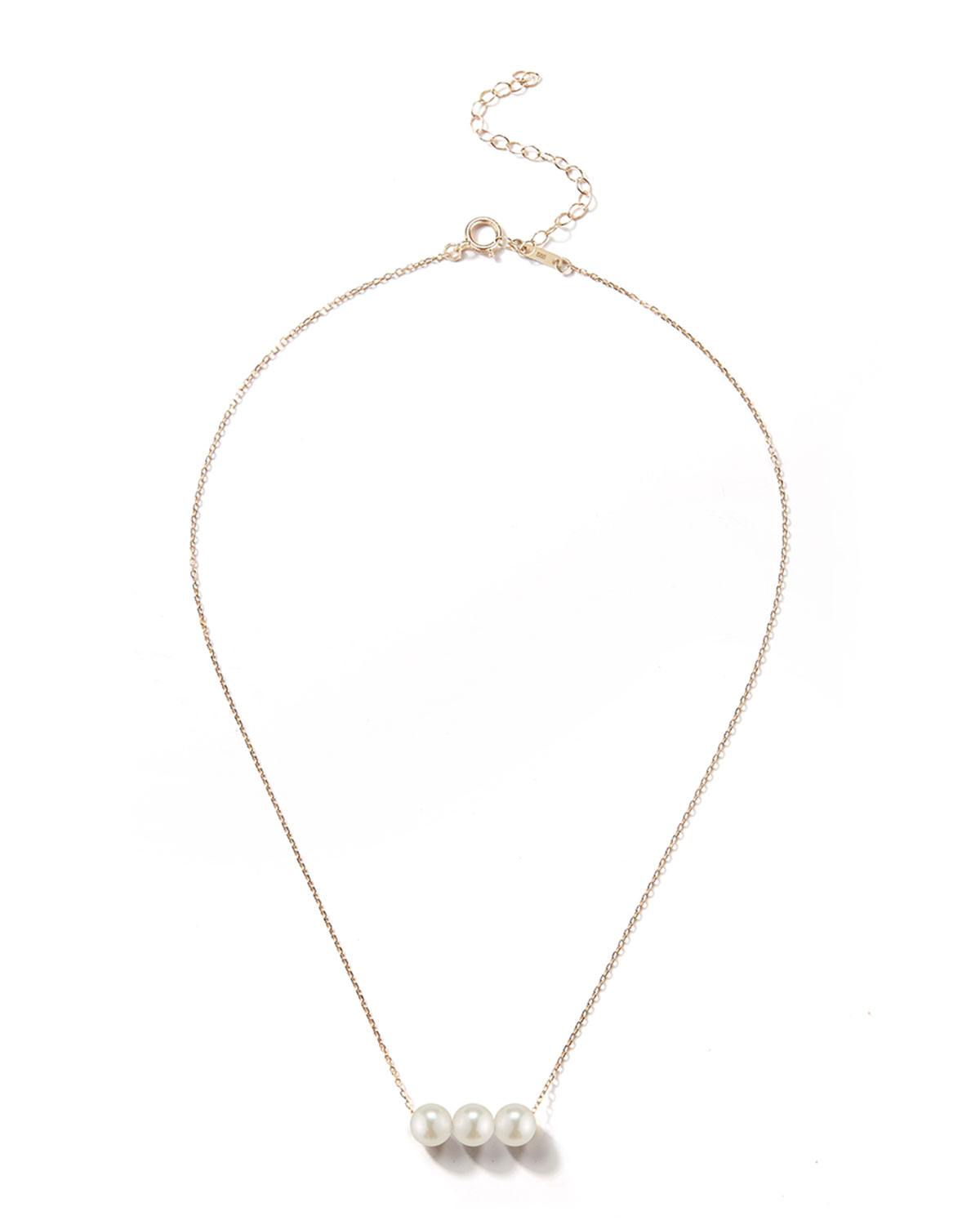 14k Gold Triple Pearl Necklace
